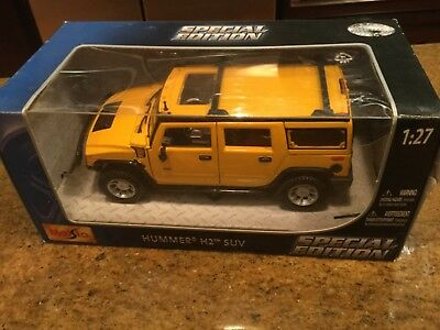 Maisto Special Edition Diecast 1:27 Hummer H2 SUV Yellow Brand New