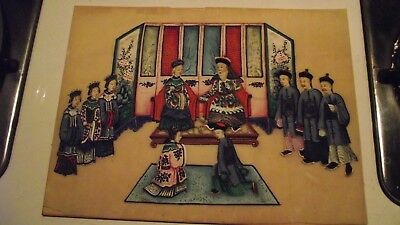 Antique 19Th Century Chinese Qing Rice Paper Pith Watercolour Painting