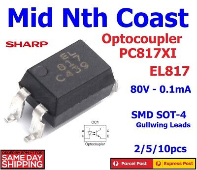 2/5/10pc Sharp PC817XI EL817XI 80V - 50mA Photocoupler SMD Gullwing SOT 4