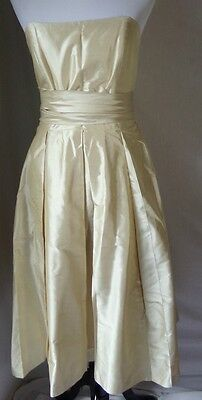 Women's Dessy Collection 100% Silk Dress Gown Wedding Champagne Ivory  Sz 10