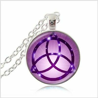 CELTIC PAGAN WICCA SYMBOL ETERNAL WITCH Glass Pendant Chain Silver Necklace