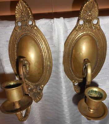 Vtg Victorian Pair Set Brass Metal Candle Sconce Wall Fixture Antique Lot Art