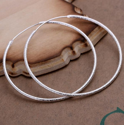 Womens 925 Sterling Silver Classic Large 51mm Round Vogue Hoop Earrings #E115