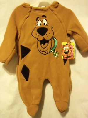 SCOOBY DOO Cozy One Piece Hooded Sleeper - Hannah Barbera Size 3-6m NEW w/ Tag