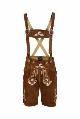 Bavarian Oktoberfest Lederhosen Men German Real Leather Brown Matching Short