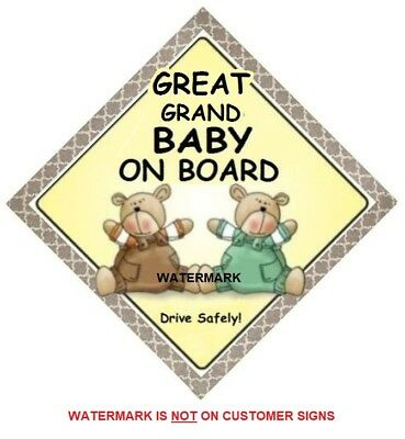 GREAT GRAND BABY ON BOARD - Two Bears  MADE AUSTRALIA - Suction Cup = FREE POST