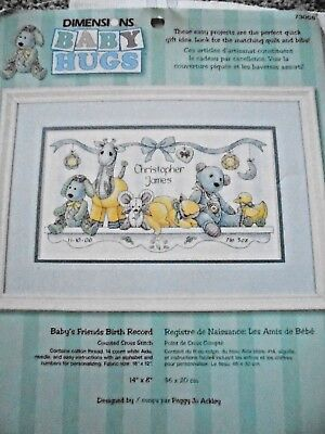 Baby Hugs counted cross stitch Kit.  Dimensions. 14 count Aida cloth  started.
