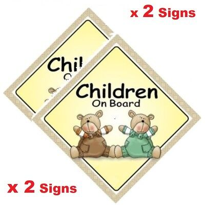 CHILDREN ON BOARD x 2 Signs  Two Bears - MADE IN OZ - Peel Off Strips -FREE POST