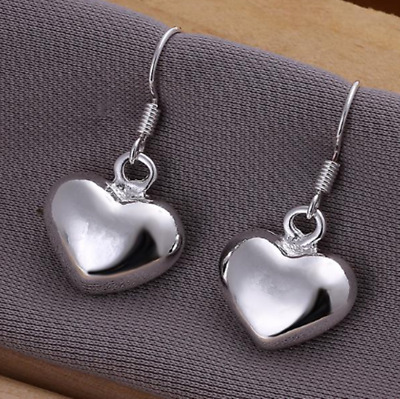 Womens 925 Sterling Silver Love Heart Drop Dangle Hook Pierced  Earrings #E117