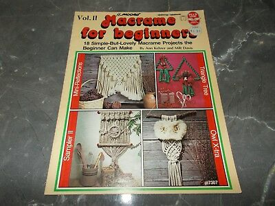 Vintage~Macrame For Beginners Vol 2~18 Projects~Owl~Plant Hangers~Necklaces~1979