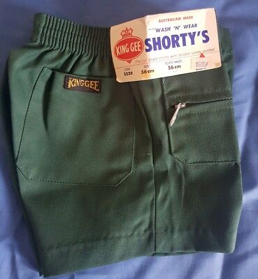 Vintage retro Authentic KING GEE 1970s size 5 boys shorts green NEW WITH TAGS