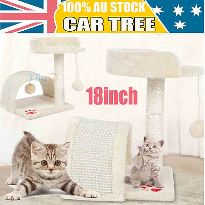 Cat Scratching Tree Post Gym House Furniture Scratcher Sisal Pole Toy Beige AU