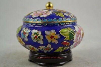 Superb Old Decoration Brass & Enamel Cloisonne Storage Pot / Jar & Circular Base