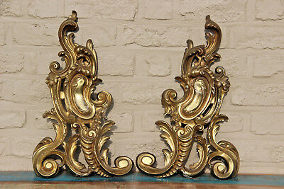 PAIR XL bronze Fireplace louis XVI Andirons antique French