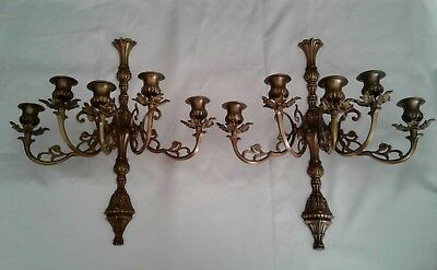 Vintage Pair of LARGE HEAVY ORNATE BRASS 5 ARM WALL SCONCES /CANDELABRAS