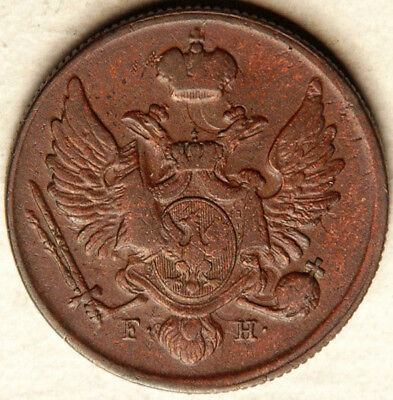 Poland Russia Copper 3 Grosze 1829 (Scarce + Sought After!)