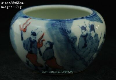 Chinese blue and white porcelain jar of hand-drawing character figure
