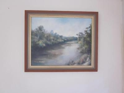 Framed Oil Painting Of Yarra River At Fitzimons Lane Lwr Plenty Melbourne1980