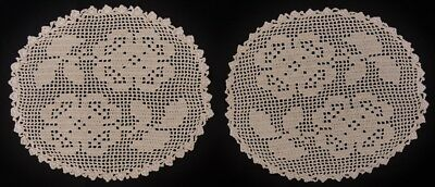 2x Vintage Filet Crochet Doilies - Light Ecru - 15cm x 13cm - Handmade