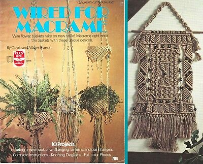 "Vintage 1977 Macrame Pattern Book ""wired For Macrame""  10 Projects"