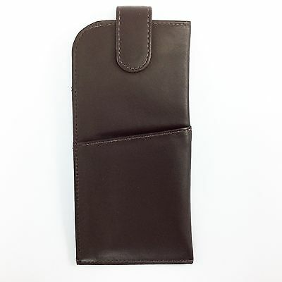 Leather Glasses Spectacles Case Pouch MALA LEATHER Magnetic Tab Fastener Brown