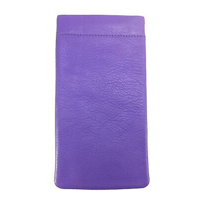 Soft Leather Snap Spring Top Glasses Spectacles Case Pouch MALA LEATHER Violet