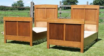 A Pair Of Fine French Walnut & Oak Art Deco Beds With Bases
