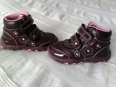 Kangol verity velcro leather girls boots purple - size 5, C5, Euro 21.5