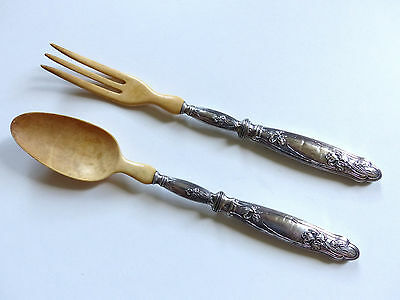 SUPERB FRENCH ART NOUVEAU STERLING SILVER 950 SALAD SERVING SET with IRIS