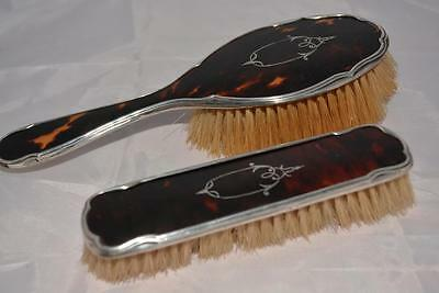 2 x Solid Silver Hallmarked T Shell Backed Brushes - B'ham 1925