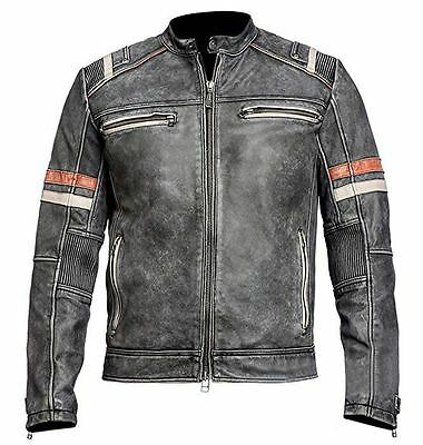 Men's Biker Vintage Motorcycle Cafe Racer Retro 2 Moto Distressed Leather Jacket