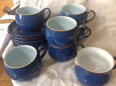 Denby Imperial blue stoneware cups and saucers set with milk jug