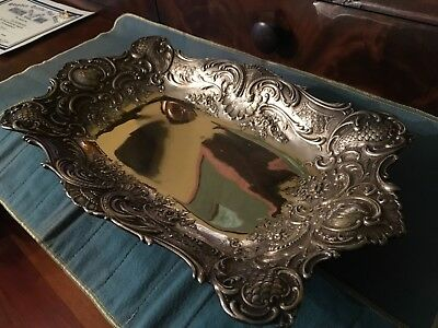 Gorham 1895 Sterling Silver Center Piece Foot Bowl Crescent Moon Date