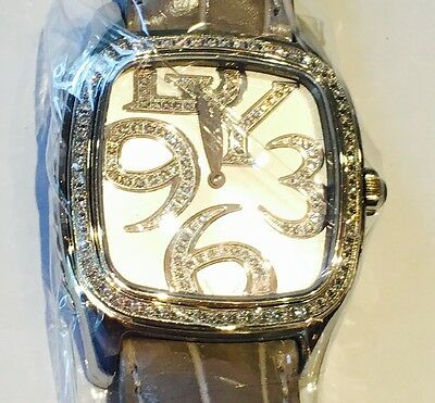 David Yurman Watch With Diamond mother of pearl Face and grey leather band