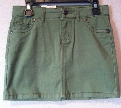 NEW Arizona Jeans Skirt Girls Size 8 Green Pocketed Adjustable Waist St Patrick