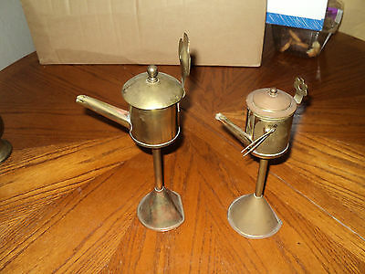 2 Antique Very Rare Collectible oil pots wall hanging Solid Brass#