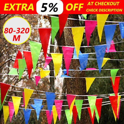80m 160m 320m Colorful Bunting Triangle Flag Wedding Party Outdoor Banner Flag