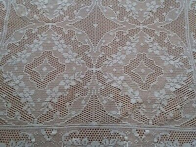 "ANTIQUE Vintage Handmade Crochet Lace White Tablecloth Runner 45x42"" Rectangular"