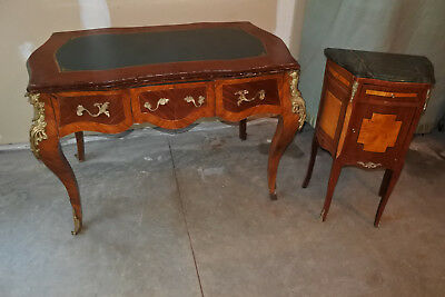 Antique French Louis XV Style Marquetry Wooden Desk Leather Top - Local Pick Up