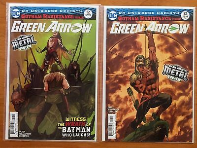 Green Arrow 32 A + B Grell Variant Gotham Resistance Metal Tie In DC 2017 NM