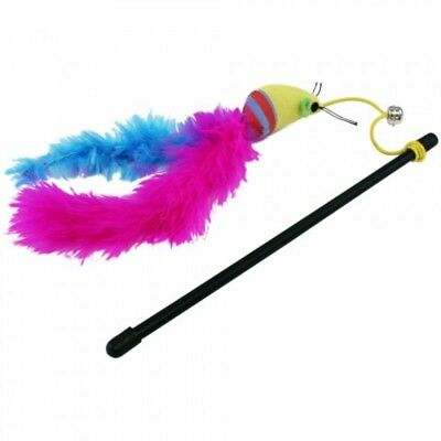 Cat 'n' Caboodle Carnival Cat Kitten Toy Teaser Wand Mouse Feathers with Bell