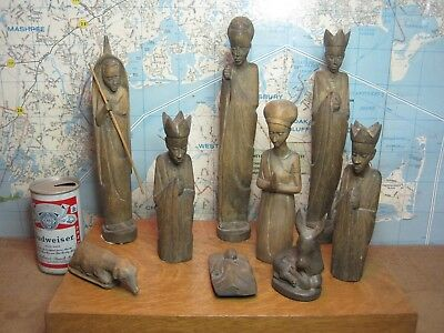 African Navtivity Set 9 Pc. Hand Carved African American Christmas Scene