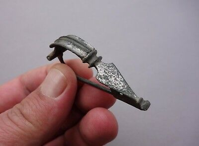 ancient Roman bronze silvered and carved brooch - fibula