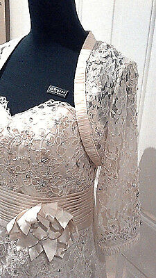 Size 8 Cream Champagne Lace Satin Mother Of The Bride Wedding Suit Dress Jacket