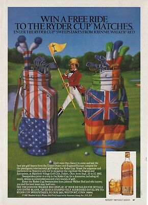 Neat Old 1987 JOHNNIE WALKER Print Ad Ryder Cup Golf