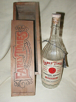 Vtg EARLY TIMES WHISKEY Heritage Edition BOTTLE + Wood Box - NICE PAPER LABEL