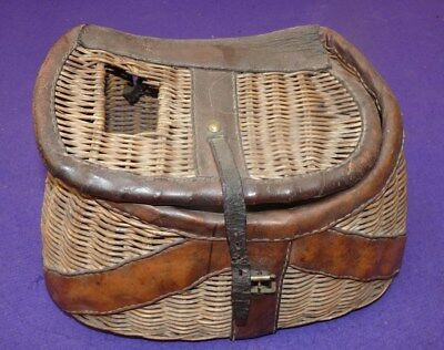 vintage fly fishers leather bound wicker creel with character for display