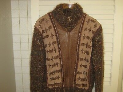 Vintage Norma Canada Jacket Sweater Chunky Knit Leather Zip Front Medium