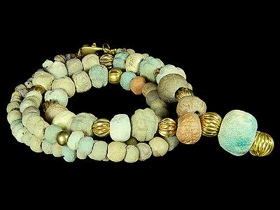 Ancient Excavated Egyptian Blue Faience Tomb  Treasure Beads Necklace #G11128