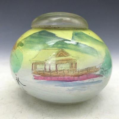 The ancient Chinese glass jar of pure manual painting painting of flowers